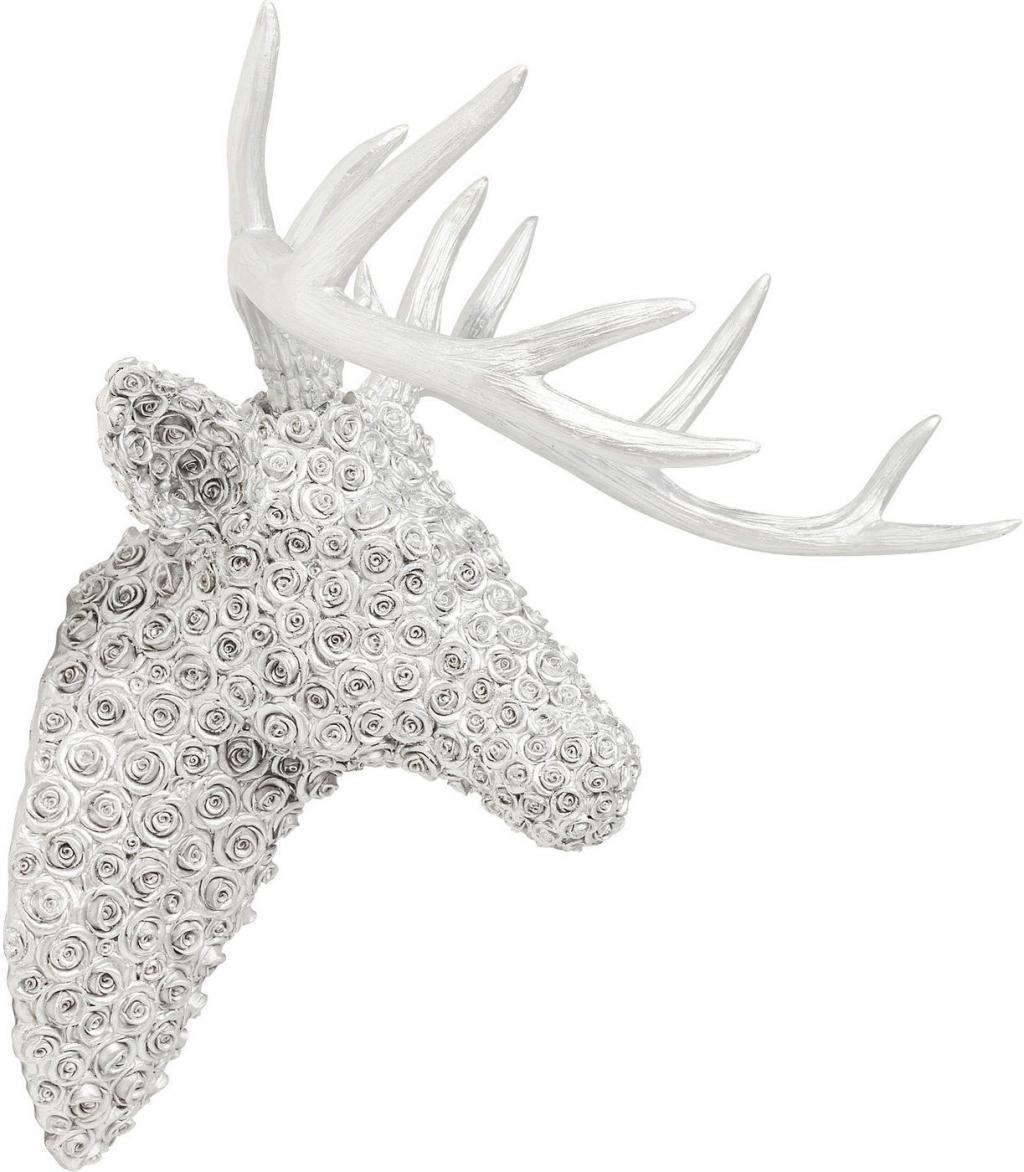 wanddecoratie hert met gewei roses chrome kare design lilnl